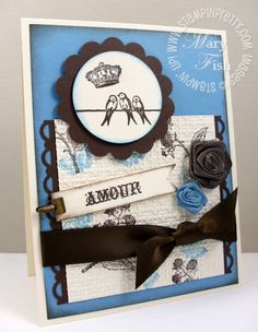 """Stamp Set: Clearly for You - Paper: Marina Mist, Early Espresso, Very Vanilla - Ink: Marina Mist pad & marker, Early Espresso pad & marker - Tools: 1-3/4"""" Circle punch, 2-3/8"""" Scallop Circle punch, Scallop Trim Border punch, Big Shot, Square Lattice EF, Sponges - Other: Vanilla Rosettes, Basic Rhinestones Jewels, Mini Library Clips, Early Espresso 5/8"""" Satin ribbon, Dimensionals, Mini Glue Dots."""