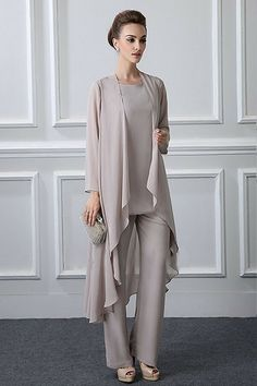 2018 new plus size elegant gray chiffon mother of the bride pant suit with long jactet for fall vestido de noiva 588 mother of the bride suit mother of the bride pant suits from cqji. Mother Of The Bride Trousers, Mother Of The Bride Fashion, Mother Of The Bride Dresses Long, Mother Of Bride Outfits, Mother Bride, Groom Outfit, Groom Dress, Groom Attire, Wedding Trouser Suits