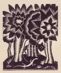 "Woodblock by Alan Bold for De la Mare's ""Broomsticks & Other Tales"""