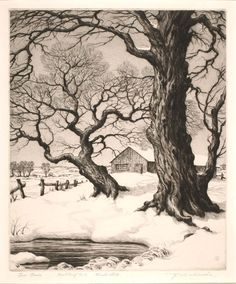 Ronau William Woiceske(American, Two Trees 1937 drypoint and aquatint on paper Tree Drawings Pencil, Landscape Pencil Drawings, Landscape Sketch, Landscape Prints, Landscape Art, Tree Sketches, Charcoal Art, Winter Art, Realistic Drawings