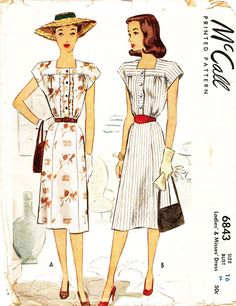 McCall 6843 Misses' Vintage 1940s Shirtwaist Dress Sewing Pattern by DRCRosePatterns on Etsy
