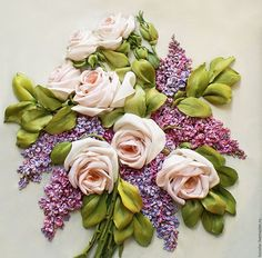 Flower Painting handmade. Livemaster - handmade. Buy Picture ribbon Vintage bouquet 31H 31 cm.Picture ribbons, lilac