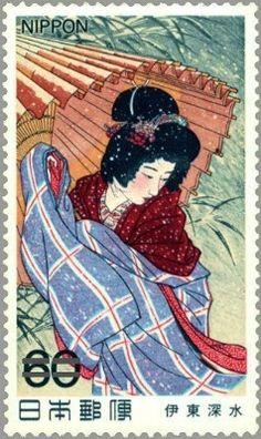 伊藤深水・吹雪 日本画