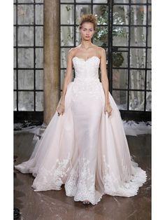 LOW BACK REMOVABLE COURT TRAIN MERMAID/TRUMPET APPLIQUES SATIN WEDDING DRESSES