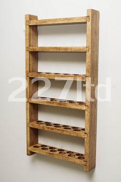 Essential Oil Shelf - Wall Mount - Dovetail Joint Style - Six Shelves - Holds 90 Oil bottles vials - Single slot size
