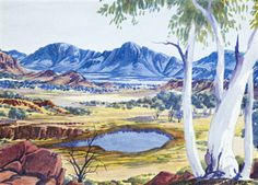 Albert Namatjira (1902-1959) - Arrernte Country Aboriginal Painting, Aboriginal Artists, Aboriginal History, Australian Painters, Australian Artists, Landscape Art, Landscape Paintings, Australian Aboriginals, Indigenous Art