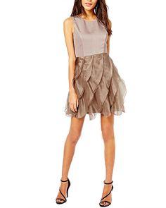 Light Brown Tiered Hem Short Dress @yoyomelodydress