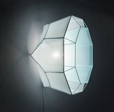 LEM wall lamp handmade of fabrics and wireframe with a crystalline shape by Daniel Becker Design Studio Berlin