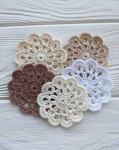 Your place to buy and sell all things handmade - crochet doilies para tejer ganchillo Crochet Diy, Diy Crochet Flowers, Crochet Puff Flower, Crochet Hook Set, Crochet Flower Patterns, Love Crochet, Irish Crochet, Vintage Crochet, Crochet Crafts
