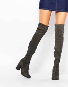 Shop River Island Block Heeled Over The Knee Boots at ASOS.