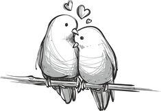 Sweet Drawings, Couple Drawings, Bird Drawings, Pencil Art Drawings, Love Drawings, Colorful Drawings, Sketches Of Love, Art Sketches, Love Bird Tattoo Couples