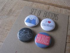 Pinback Buttons. Colorado Buttons. 1 inch buttons