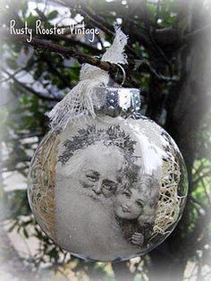 Do it Yourself Instructions from Rusty Rooster Vintage: Pottery Barn Copy Cat Christmas Ornaments Cat Christmas Ornaments, Christmas Past, Winter Christmas, Christmas Bulbs, Christmas Decorations, Christmas Ideas, Diy Ornaments, Homemade Ornaments, Photo Ornaments