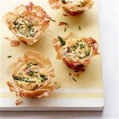 Asparagus, ham and chive filo tartlets