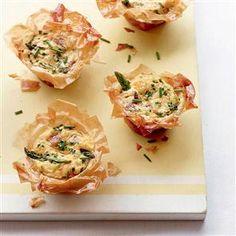 Asparagus, ham and chive filo tartlets Recipe   delicious. Magazine free recipes
