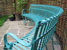 Wrought iron curved garden bench furniture with a traditional blacksmith riveted construction, this seating Curved Outdoor Benches, Curved Bench, Outdoor Seating, Outdoor Chairs, Garden Benches Uk, Garden Bench Plans, Outdoor Garden Bench, Patio, Garden Seating