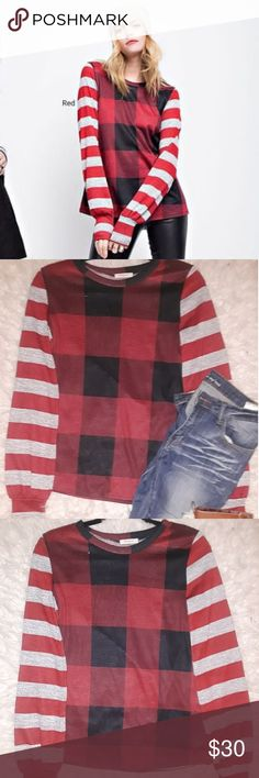 New Buffalo Plaid Top w/ Striped Sleeves Brand-new knit top from 12pm By Mon Ami in size small. This top has a beautiful and trendy combination of buffalo plaid & stripes for a super cute look perfect for the winter months!! Never worn, never tried on!!! This item is without tags but that's because I recieved this directly from the wholesaler and it came without tags attached.  Smoke & pet free home!!! Direct from the wholesaler!!! 12 Pm By Mon Ami Tops Blouses