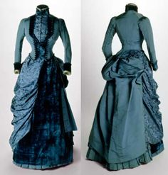 Dress, 1884-1885. Blue silk and velvet