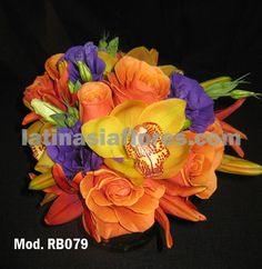 #orange lilies and roses #wedding #bouquet with #purple lisianthus and #yellow cymbidium orchid