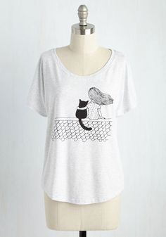 Friends Fur-Ever T-Shirt - White, Solid, Casual, Critters, Short Sleeves, Fall, Good, Scoop, Mid-length, Knit, Store 1