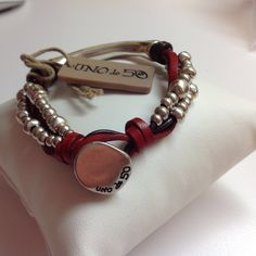 "NWT Uno de 50 Silvertone Beads/Tube/Red Leather/ Bracelet 7"" $109 in Jewellery & Watches, Costume Jewellery, Bracelets | eBay!"