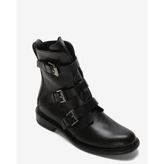 rag & bone Hudson Buckled Moto Boot: Black ($399) ❤ liked on Polyvore featuring shoes, boots, ankle booties, buckle booties, leather booties, black booties, black buckle boots and black moto boots
