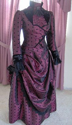 For Orders Victorian Dress 1887 Bustle Gown Gothic Sass Old Wild West Skirt Bodice Victorian Gown, Victorian Costume, Victorian Fashion, Vintage Fashion, Gothic Gowns, Old Fashion Dresses, Old Dresses, Vintage Gowns, Vintage Outfits