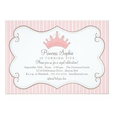 Deals Princess Birthday Party Pink Crown Invitation In our offer link above you…
