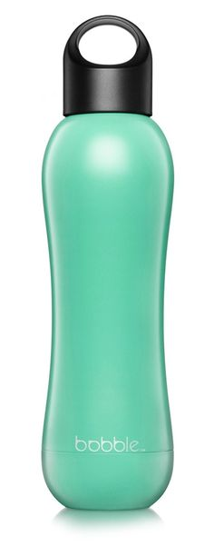 Staying hydrated while on the go with this bright mint colored water bottle.