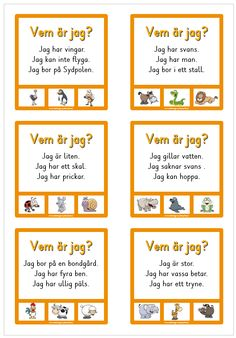 Vem är jag? - 16 nypkort med enkla läsövningar Preschool Worksheets, Preschool Learning, Preschool Activities, Swedish Quotes, Learn Swedish, Swedish Language, Mazes For Kids, Teachers Pet, Free Teaching Resources
