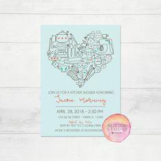 Kitchen Bridal Shower Invitation - Kitchen Shower - Cooking Bridal Shower Theme - Retro Bridal Shower Printable Invite