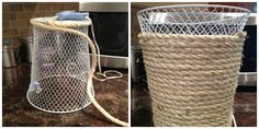 Using rope give your dollar store trash can a chic twist.