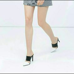 Zara high heel mules (3358) New with tag. EUR 38 US 7.5. Upper 100% polyurethane.  Lining 100% polyurethane. High-heeled mules.Contrast black and white.Wide strap upper.Pointed toe. Heel height of 10,2 cm. Multicolor Zara Shoes Mules & Clogs
