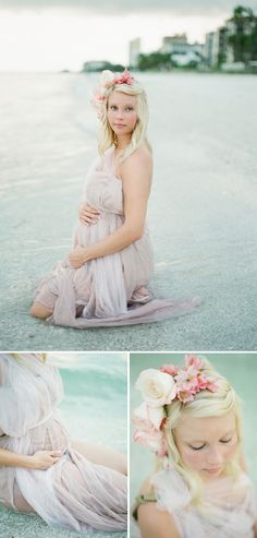 Although I think maternity pictures are just awkward, this is really beautiful: dreamy seaside maternity shoot