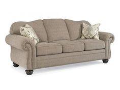 Flexsteel One-Tone Fabric Sofa With Nailhead Trim 864831A
