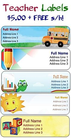 Teacher Labels for $5.00 + FREE Shipping!! ~ easy to use for labeling classroom belongings, and also make a great gift for your child's teacher!