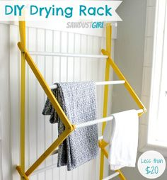 DIY Drying Rack from https://sawdustgirl.com