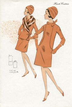 Original 1969 French fashion colour lithograph, $40.00