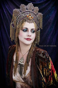 Golden goddess Fantasy Fairy Queen Medieval Exotic Ornate Eygption Princess Belly dance Gold Grecian headdress headpiece crown on Etsy, $500.00