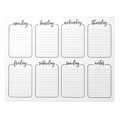 Weekly Planner Simple White Tear Away Calendar Notepad - Red Cherries Pattern Personalized Notebook - Do you write down your thoughts and ideas? Use this notepad and personalize it with your own information. To Do Lists Printable, Meal Planner Printable, Planner Pages, Week Planner, Weekly Planner Pad, Weekly Agenda, Study Planner, Weekly Calendar Template, Monthly Budget Template