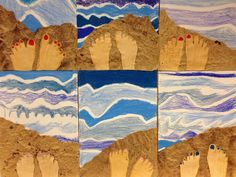 feet selfie using crumpled paper for sand, splatter paint for sand, draw feet…