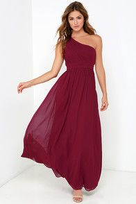 Painted Words Wine Red One Shoulder Maxi Dress at Lulus.com!