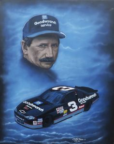 """For Sale: Dale Earnhardt, Number 3, Race car driver, Goodwrench by Martha Seale   $400   16""""w 20""""h   Original Art   https://www.vangoart.co/marthasealeart/dale-earnhardt-number-3-race-car-driver-goodwrench @VangoArt"""