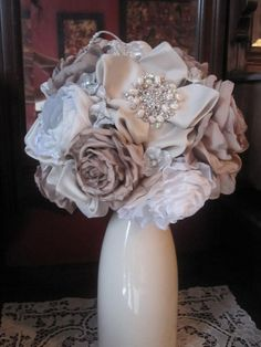 Latte and cream bridal bouquet by Liv's fabric bridal bouquets