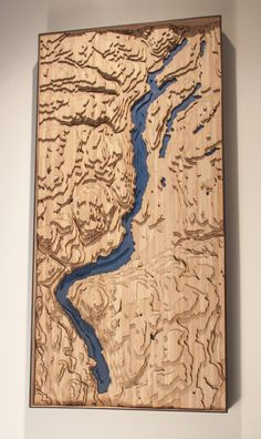 Handmade and laser cut topographic map of the Okanagan Valley, British Columbia. Made from sustainable bamboo and ready to hang!