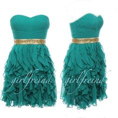 Green party dress with gold belt embelishment
