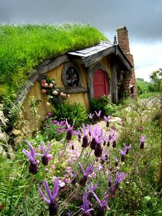 A beautiful shot of a hobbit-style earth home with wildflowers in foreground - a new classic example