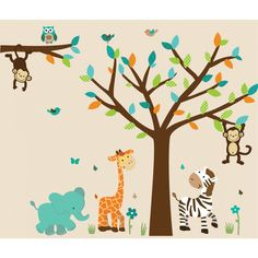 Teal Safari Murals With Elephant Decals For Boys Rooms Kids Wall Murals, Wall Mural Decals, Tree Decals, Kids Room Wall Decals, Wall Stickers, Tree Wall, Nursery Decals, Nursery Themes, Green Leaves