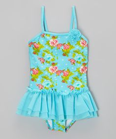 Take a look at the Envya Swimwear Aqua Rose Garden Ruffle Skirted One-Piece - Girls on #zulily today!