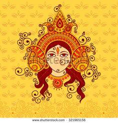 stock-vector-vector-design-of-goddess-durga-in-indian-art-style-321965156.jpg (450×470)